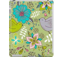 Flowers and birds in flight, a cute line drawing pattern on a fun lime green background, classic statement fashion clothing, soft furnishings and home decor   iPad Case/Skin