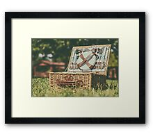 Opened Picnic Basket With Cutlery In Spring Green Grass Framed Print