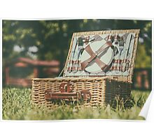 Opened Picnic Basket With Cutlery In Spring Green Grass Poster