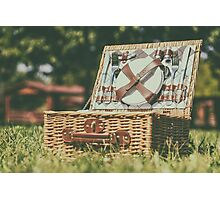 Opened Picnic Basket With Cutlery In Spring Green Grass Photographic Print