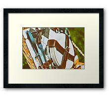 Opened Picnic Basket With Cutlery Framed Print