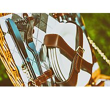 Opened Picnic Basket With Cutlery Photographic Print