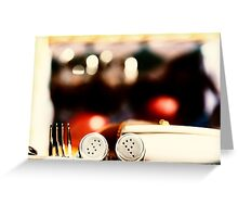 Salt And Pepper With Cutlery In Picnic Basket Greeting Card