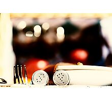 Salt And Pepper With Cutlery In Picnic Basket Photographic Print