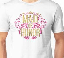 Maid Of Honor Bridesmaid Bride Gold Foil Pink Glitter Appearance Ornate Scroll Wedding Bachelorette Bridal Shower Engagement Unisex T-Shirt