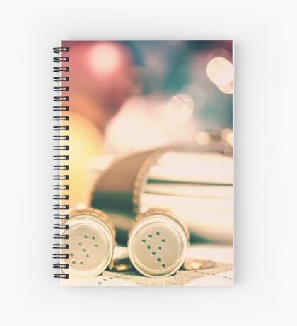 Salt And Pepper With Cutlery In Picnic Basket Spiral Notebook