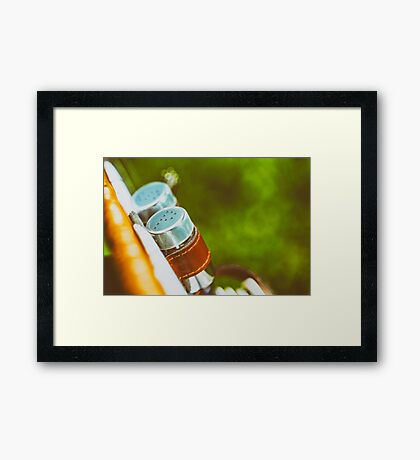 Salt And Pepper With Cutlery In Picnic Basket Framed Print