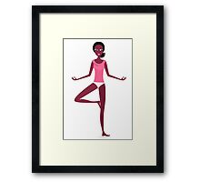 Woman excercising yoga asana - original yoga illustration Framed Print