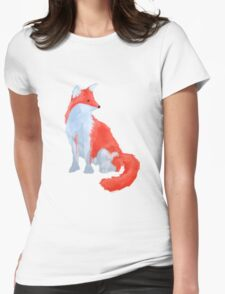 Cute Fox with Fluffy Tail Womens Fitted T-Shirt
