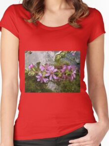 Flowers and reflections in water Women's Fitted Scoop T-Shirt