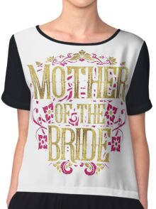 Mother Of The Bride Gold Foil Pink Glitter Appearance Ornate Scroll Wedding Bachelorette Bridal Shower Engagement Chiffon Top