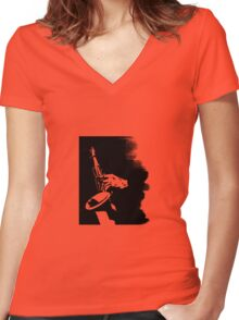 Saxophone Silhouette Women's Fitted V-Neck T-Shirt