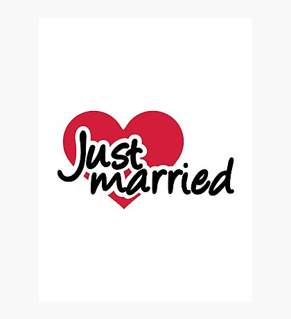 Just married red heart Photographic Print