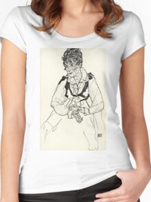 Egon Schiele - Zeichnungen XI (1917)  Women's Fitted Scoop T-Shirt