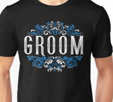 Groom Bride Blue White Black Ornate Scroll Wedding Bachelor Party Stag Groom's Mob Engagement Unisex T-Shirt