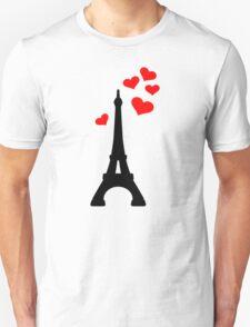 Eiffel Tower Paris hearts Unisex T-Shirt