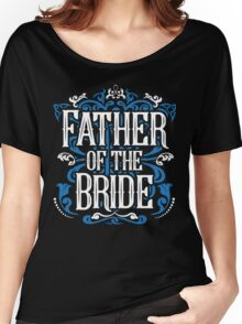 Father of the Bride Groom Blue White Black Ornate Scroll Wedding Bachelor Party Stag Groom's Mob Engagement Women's Relaxed Fit T-Shirt