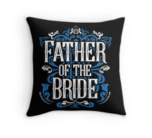 Father of the Bride Groom Blue White Black Ornate Scroll Wedding Bachelor Party Stag Groom's Mob Engagement Throw Pillow