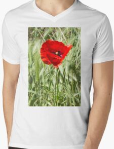 poppies in the field Mens V-Neck T-Shirt