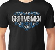 Groomsmen Groom Bride Blue White Black Ornate Scroll Wedding Bachelor Party Stag Groom's Mob Engagement Unisex T-Shirt