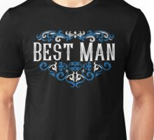 Best Man Groomsmen Groom Bride Blue White Black Ornate Scroll Wedding Bachelor Party Stag Groom's Mob Engagement Unisex T-Shirt