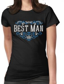 Best Man Groomsmen Groom Bride Blue White Black Ornate Scroll Wedding Bachelor Party Stag Groom's Mob Engagement Womens Fitted T-Shirt