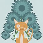 Cat in the Flowerfield by KarinBijlsma