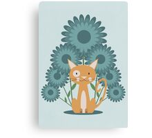 Cat in the Flowerfield Canvas Print