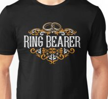 Ring Bearer Groomsmen Groom Bride Blue White Black Ornate Scroll Wedding Bachelor Party Stag Groom's Mob Engagement Unisex T-Shirt