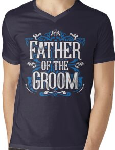 Father of the Groom Bride Blue White Black Ornate Scroll Wedding Bachelor Party Stag Groom's Mob Engagement Mens V-Neck T-Shirt