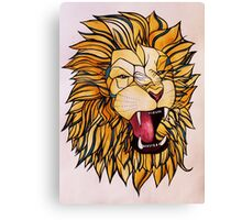 Watercolour and Ink Lion Canvas Print