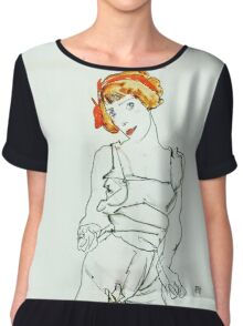 Egon Schiele - Woman in Underclothes and Stockings (Wally Neuzil) (1913)  Chiffon Top