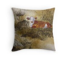 The Resting Cow Throw Pillow