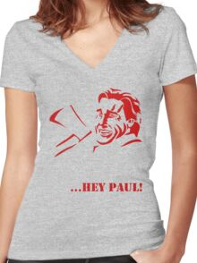 Hey Paul! Women's Fitted V-Neck T-Shirt