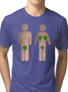 Male and Female Toilet Sign With Leaves Tri-blend T-Shirt