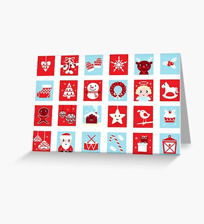 Christmas icons and design elements - red and blue Greeting Card