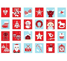 Christmas icons and design elements - red and blue Photographic Print