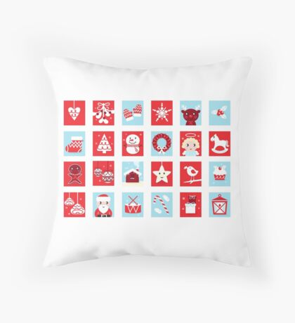 Christmas icons and design elements - red and blue Throw Pillow