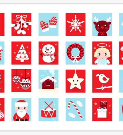 Christmas icons and design elements - red and blue Sticker
