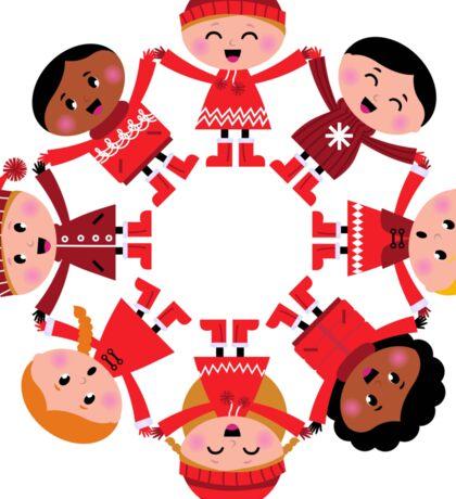 Cute winter kids in circle Sticker