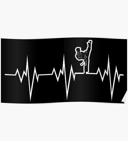 taekwondo heart beat korea martial art Poster