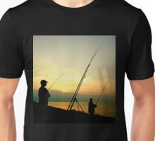 Fishing from the Beach at sunset. Unisex T-Shirt