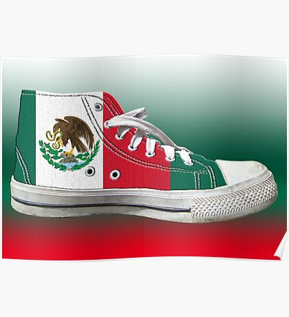 Hi Top Mexico Basketball Shoe Flag Poster
