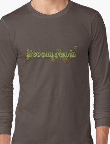 Steampunk Gears half wood Long Sleeve T-Shirt