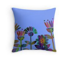 multicolour retro flowers Throw Pillow