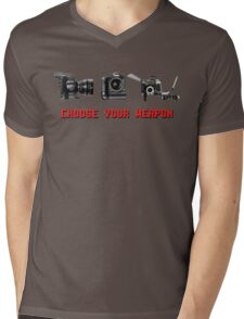 Choose Your Weapon - Canon 5D DSLR, Black Magic or Canon C300? Mens V-Neck T-Shirt