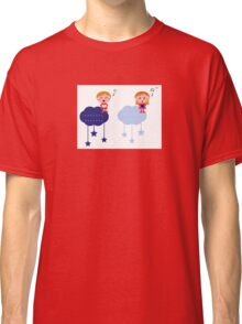 Cute christmas cloudy labels with caroling kids Classic T-Shirt