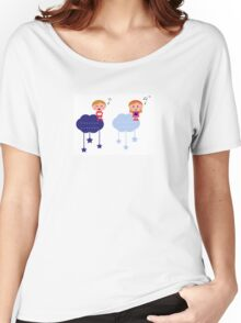 Cute christmas cloudy labels with caroling kids Women's Relaxed Fit T-Shirt