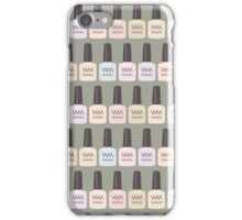 French nail varnish icons on green iPhone Case/Skin