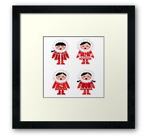 Cute eskimo children in red coat Framed Print
